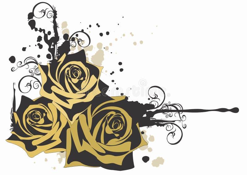 grungy розы бесплатная иллюстрация
