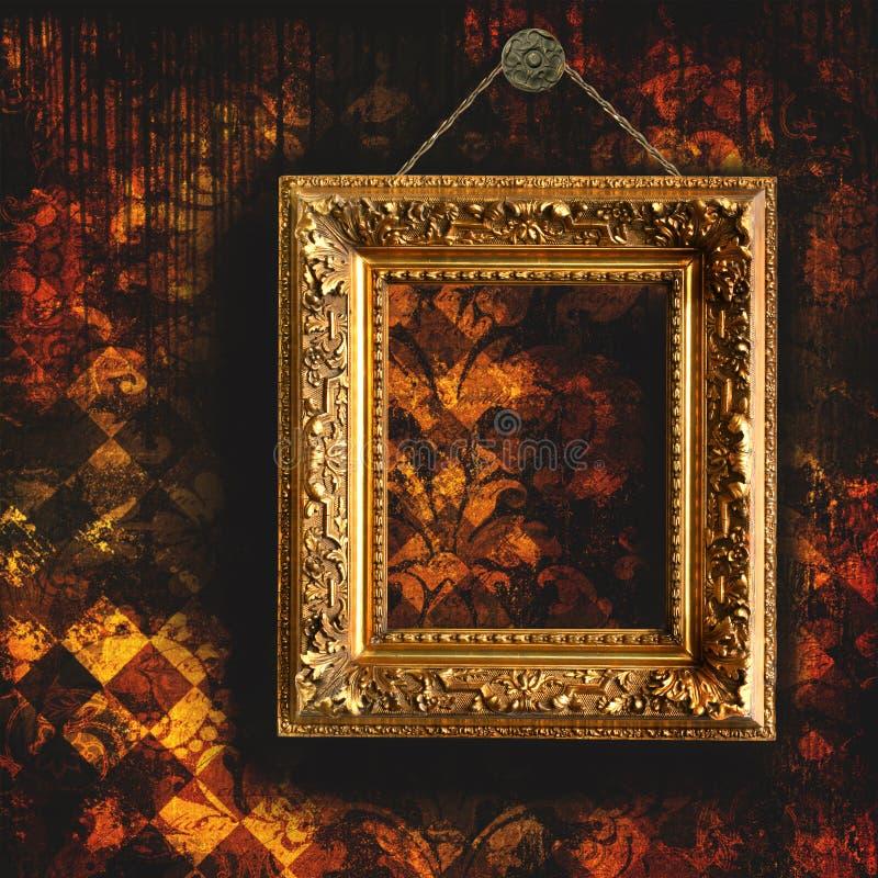 Grungy aan flarden behang met leeg frame stock illustratie