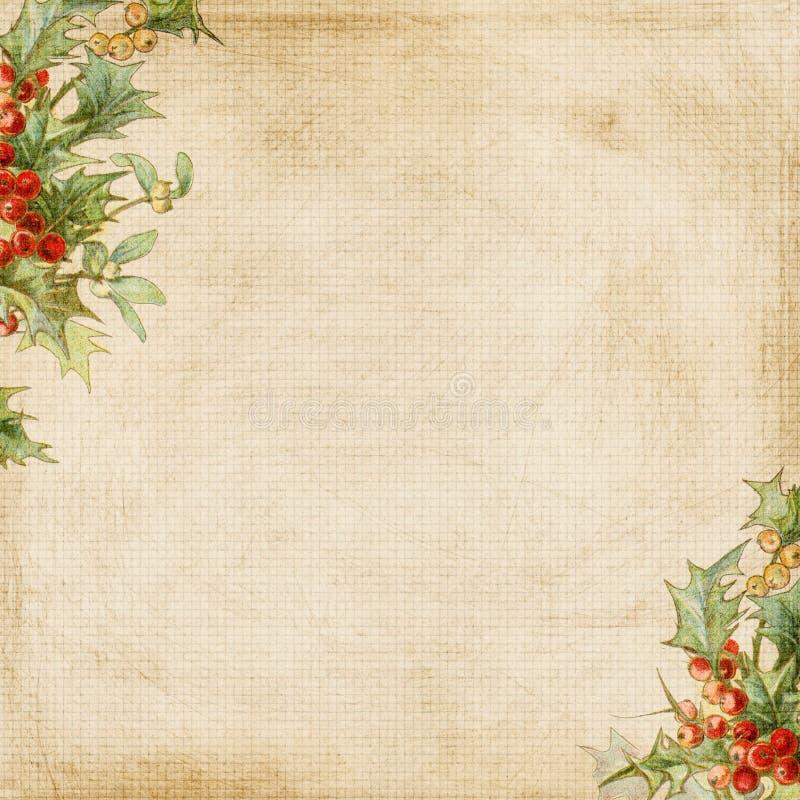 Grungy Achtergrond van het Frame van de Hulst van Kerstmis vector illustratie