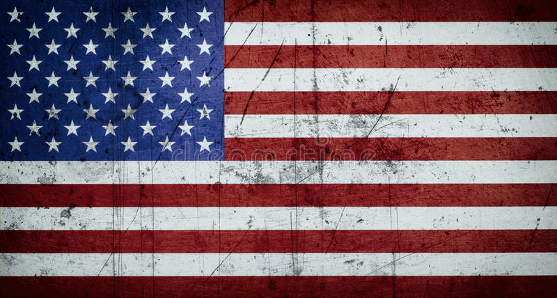 Grungy American flag background. Close up. Vignette stock image