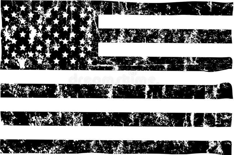 Grungy american flag mockup,black and white, stars and stripes, vector vector illustration