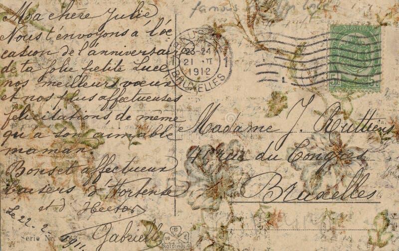 Grungy Antieke Uitstekende Bloemenprentbriefkaarachtergrond stock afbeelding