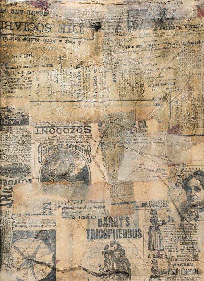 Grungy antik tidningspapperscollage royaltyfria foton