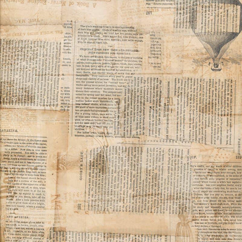 Grungy antik tidningspapperscollage arkivfoto
