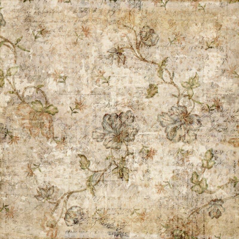 Grungy antike Weinlese-Blumenhintergrund lizenzfreie stockfotos