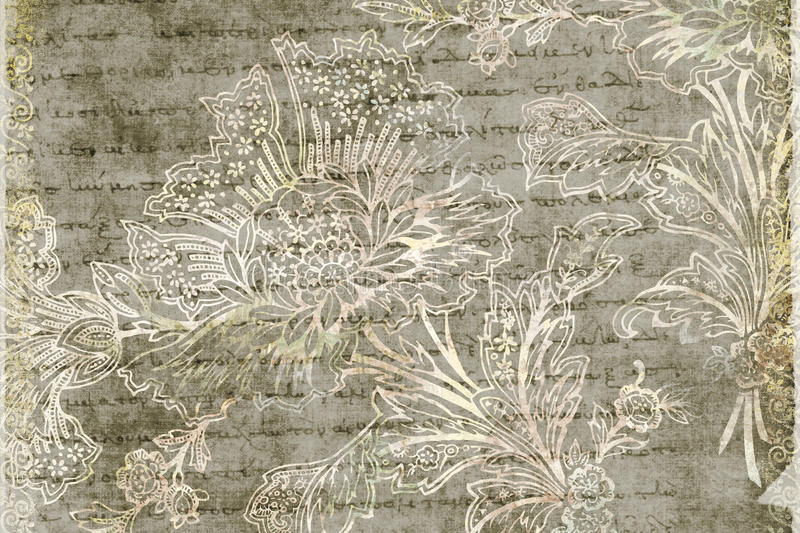 Grungy antique floral background. A grungy antique floral background with text vector illustration