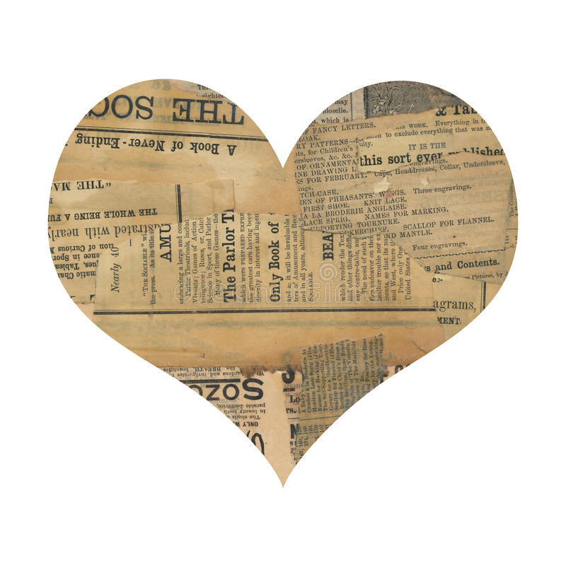 Download Grungy Antique Newspaper Paper Collage Heart Stock Image - Image of aged, scrapbooking: 20045345
