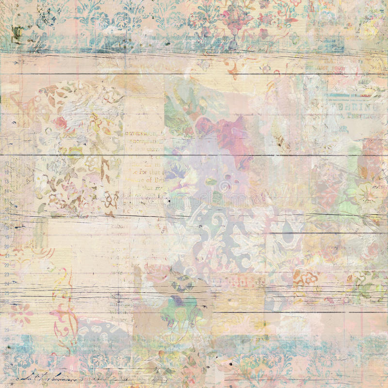 Grungy Antique Vintage Floral wallpaper collage Background. With antique ephemera royalty free stock photography