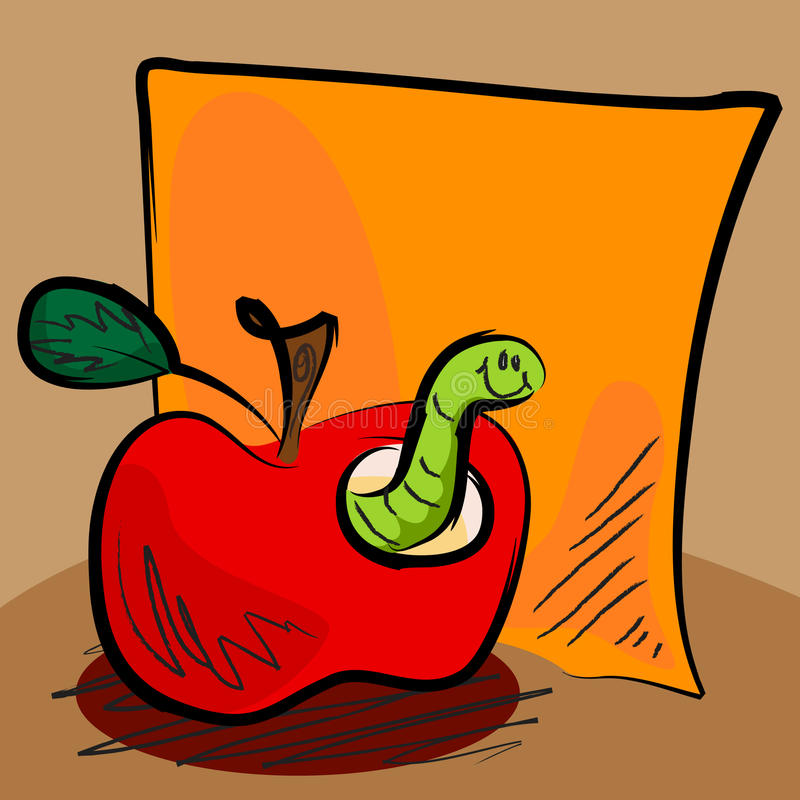Download Grungy Apple Worm Cartoon With Sticky Stock Vector - Image: 25380938