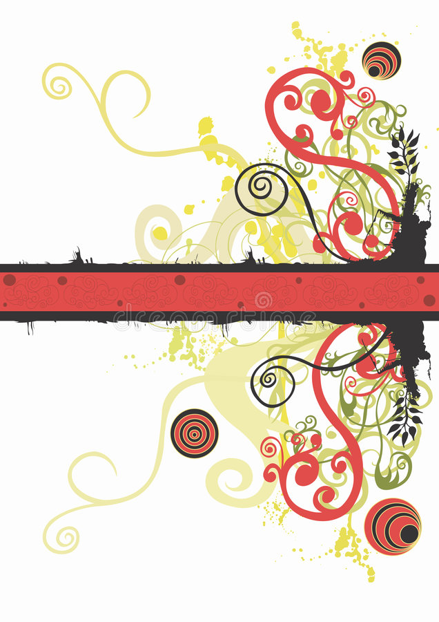 Grungy background. Illustration of a grungy background with decorative patterns royalty free illustration