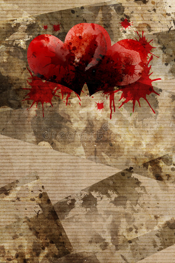 Grungy background and blood of heart