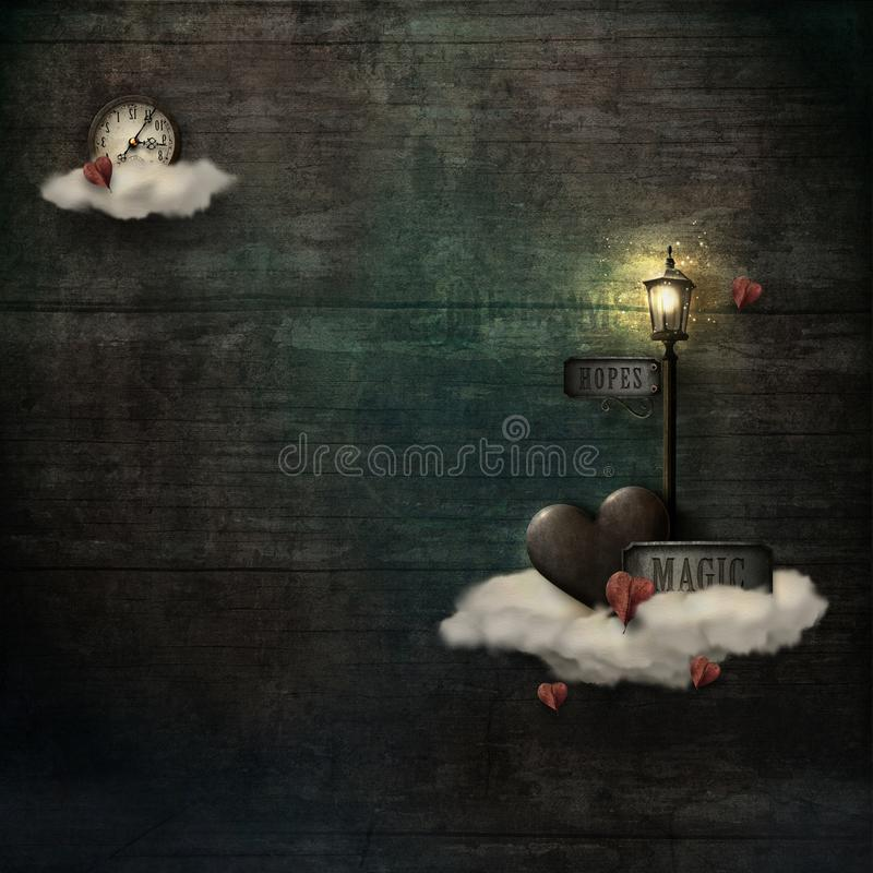 Grungy background with clouds, heart & lamppost vector illustration
