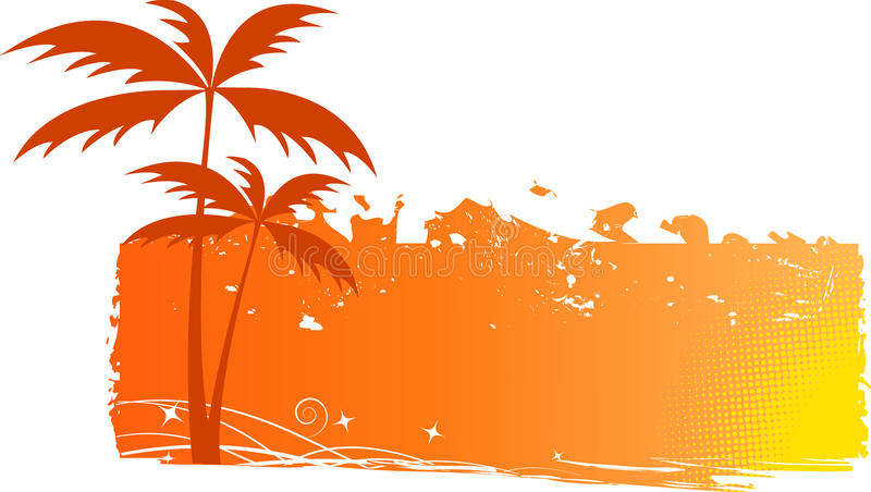 Grungy background with palm trees stock illustration