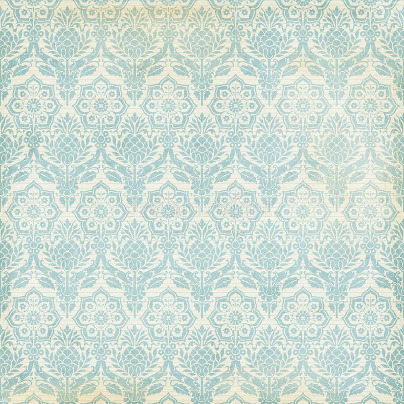 Grungy bakgrund för blå och kräm- damast tappning royaltyfri foto