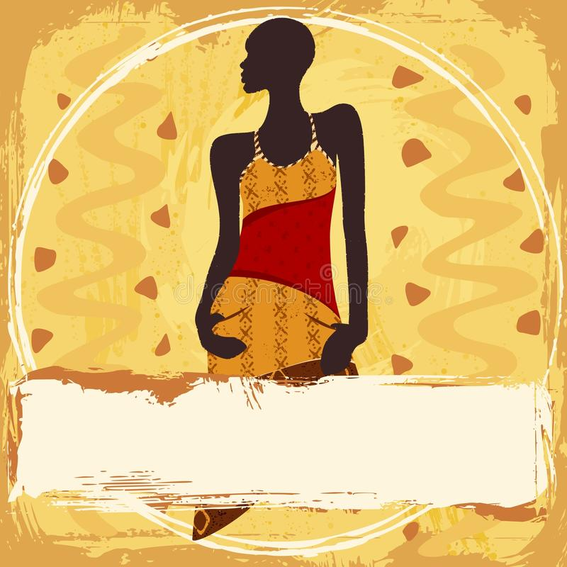 Download Grungy Banner With An African Woman In A Patterned Stock Vector - Image: 25425379