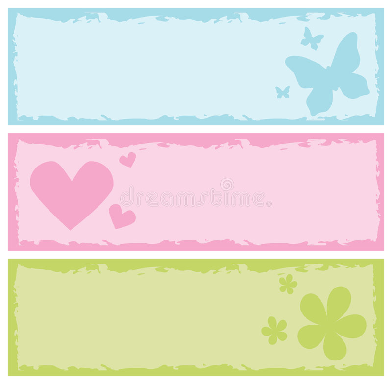 Download Grungy Banners With Butterflies, Hearts, Flowers Stock Images - Image: 6382284