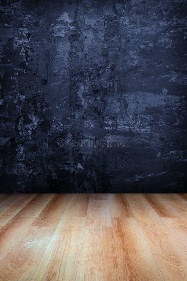 Grungy betongvägg och trägolv stock illustrationer