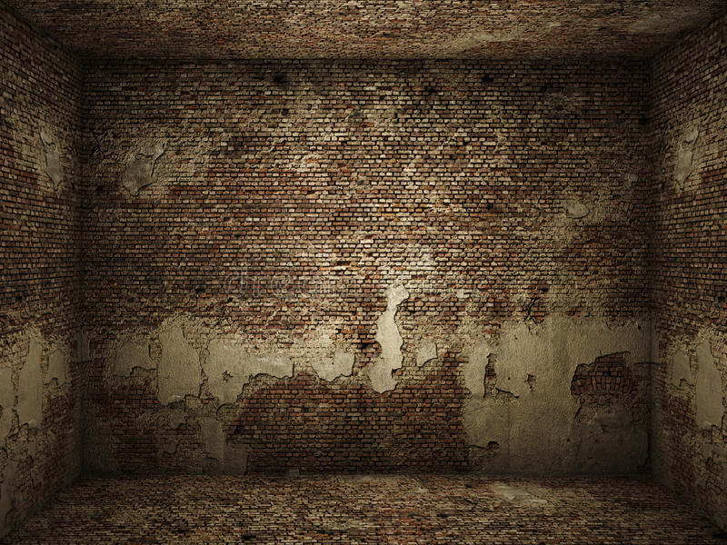 Grungy binnenlandse baksteenruimte stock fotografie