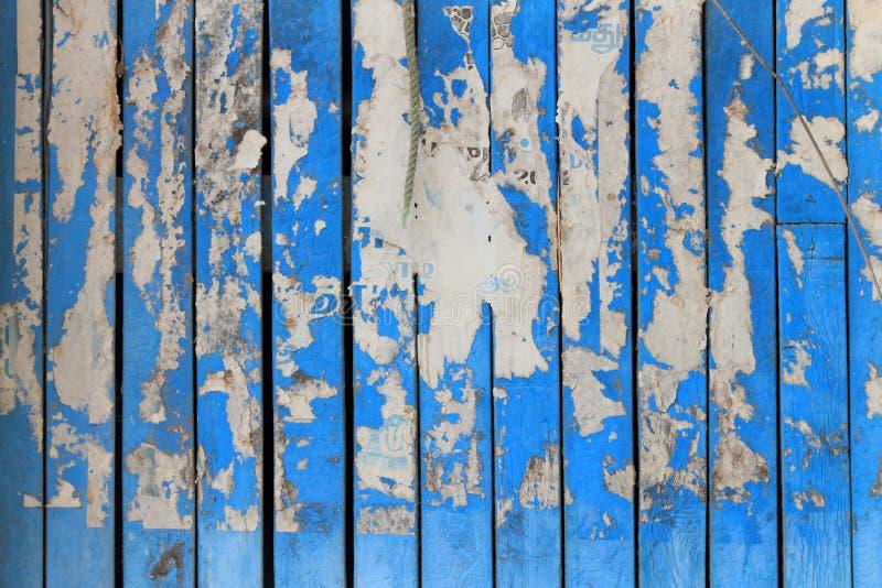 Grungy blauwe paneel van de kleuren houten deur stock afbeeldingen