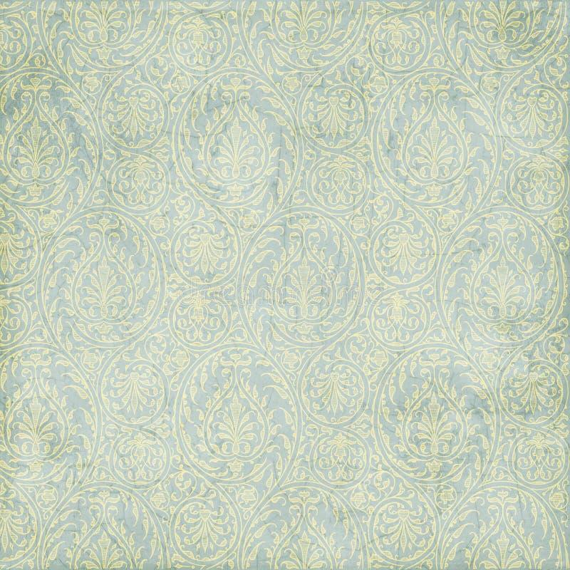 Grungy blauwgroene Paisley textuurachtergrond royalty-vrije stock fotografie