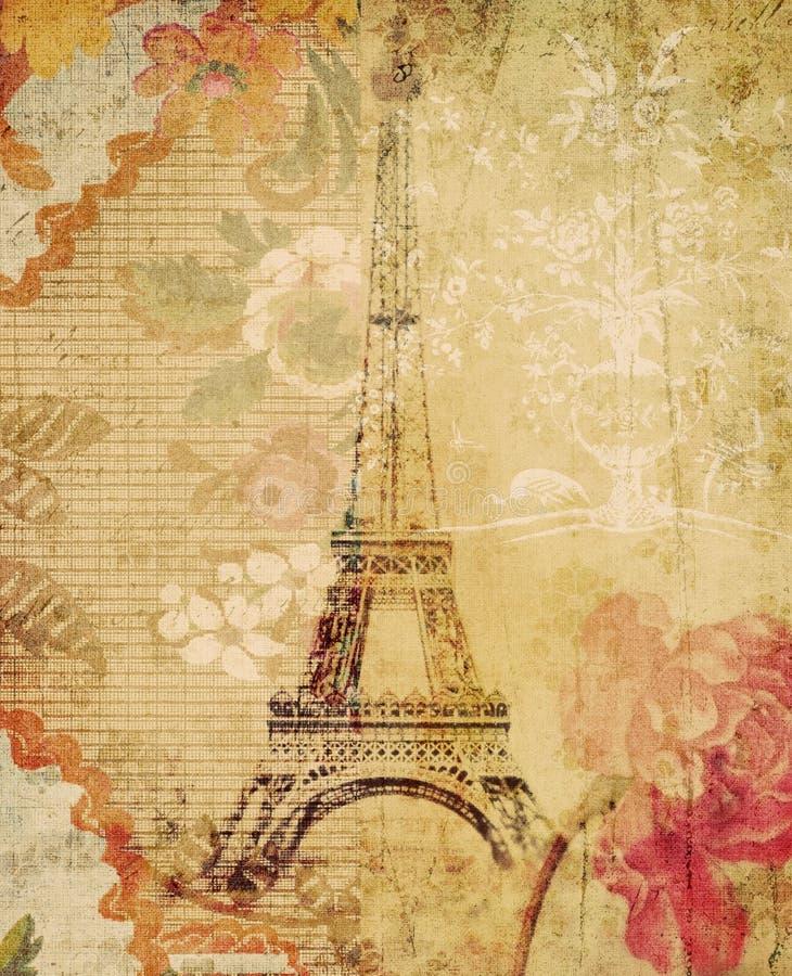 Grungy BloemenAchtergrond van Parijs van de Toren van Eiffel