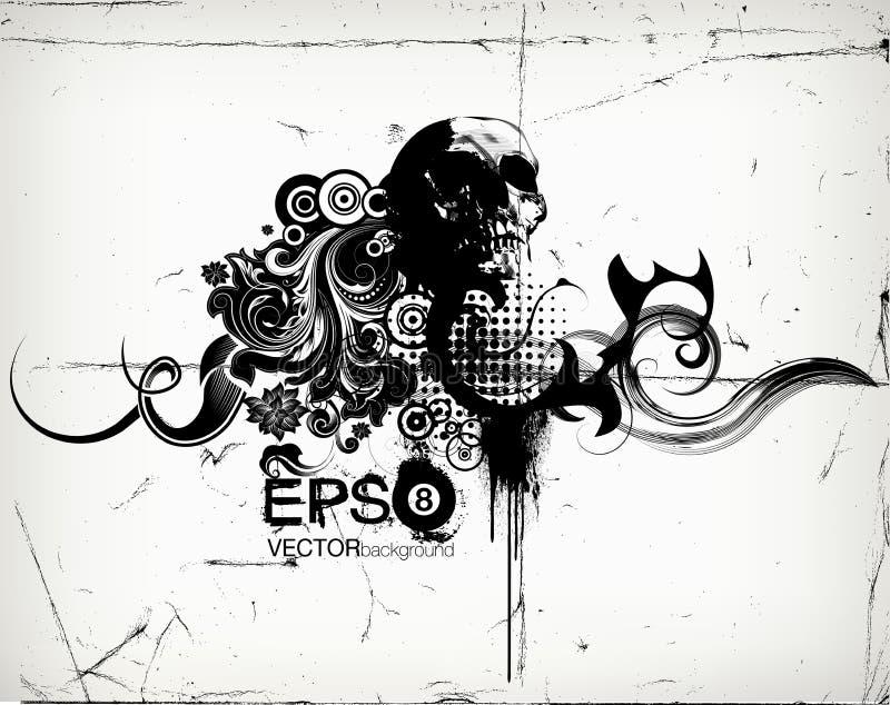 Grungy blom- illustration med scullen royaltyfri illustrationer