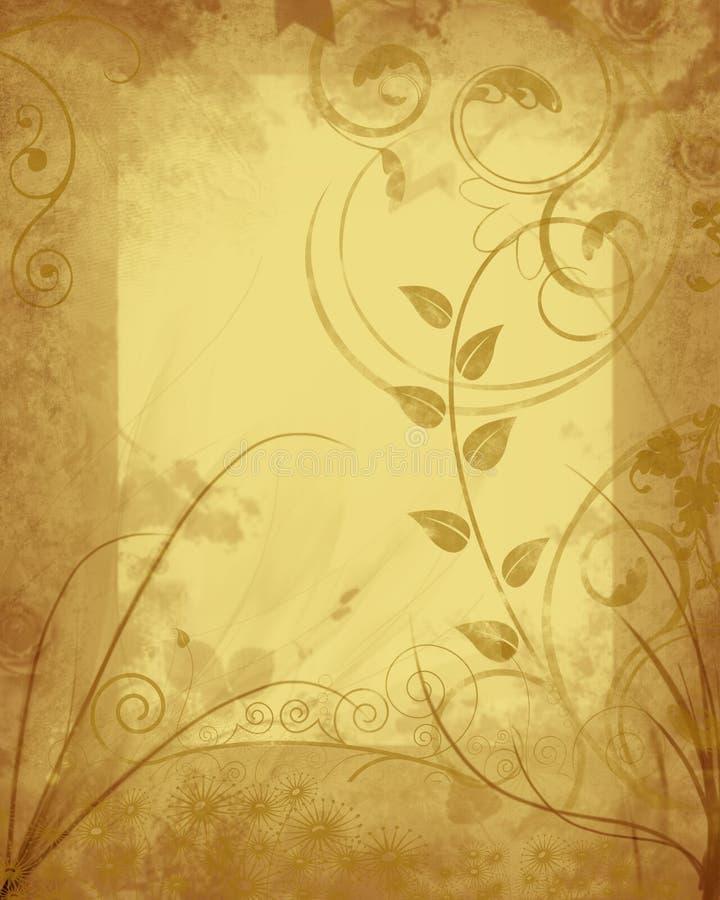 grungy blom- ram vektor illustrationer