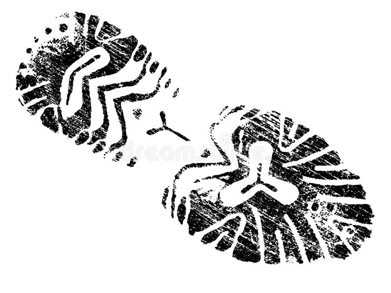 Grungy BootPrint royalty-vrije illustratie