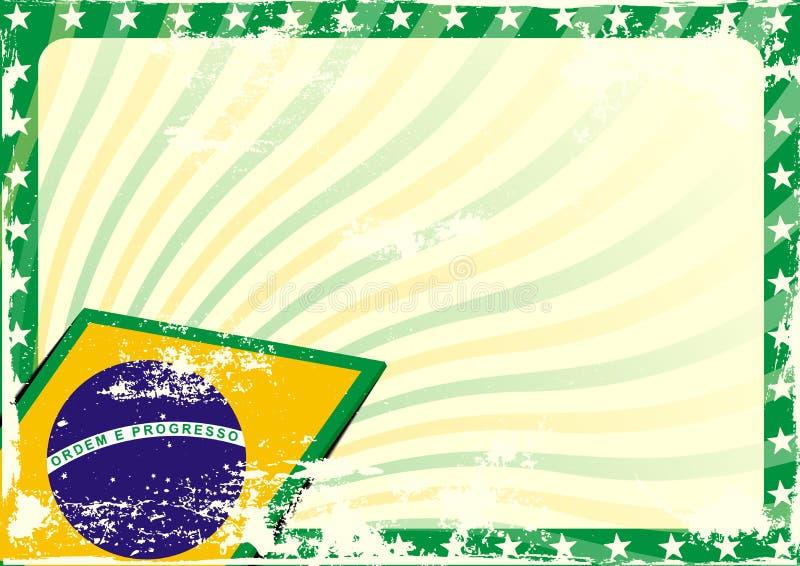 Grungy Braziliaanse vlagachtergrond stock illustratie