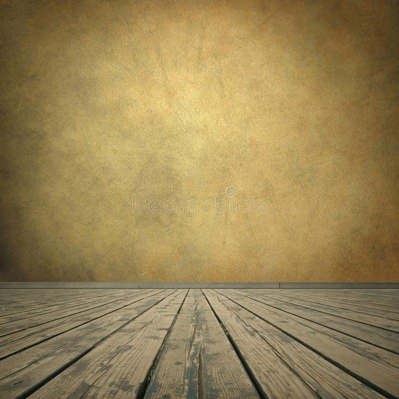 Grungy brown wall and wooden floor stock photo