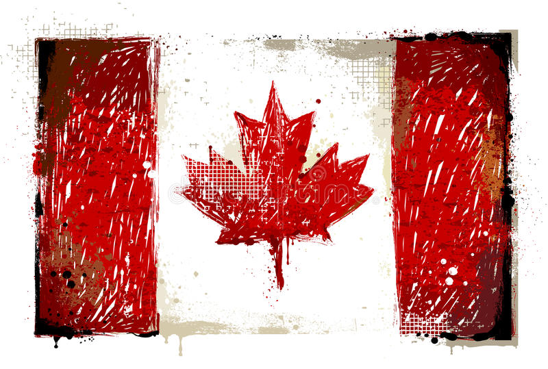 Grungy Canadese vlag stock illustratie