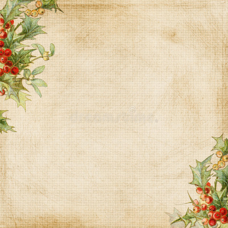 Free Grungy Christmas Holly Frame Background Stock Photos - 16272473