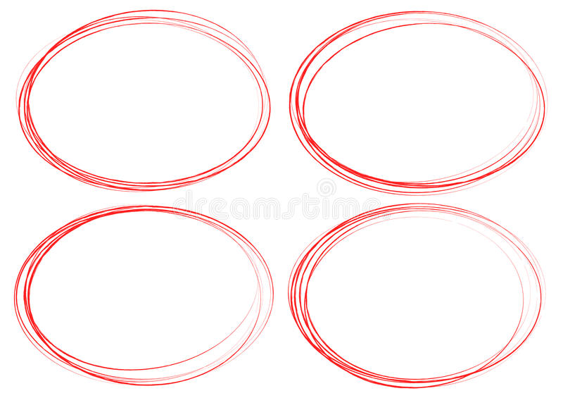 Grungy cirkelbeståndsdelar Texturerade suddiga knapphändiga cirklar för högt stock illustrationer