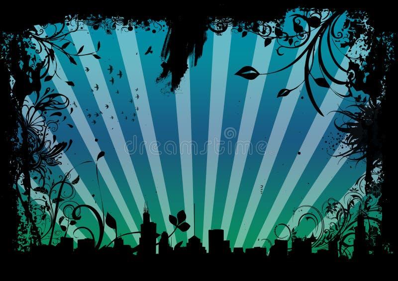 Grungy cityscape royalty-vrije illustratie