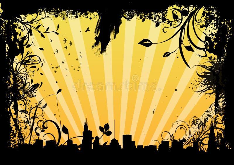 Grungy cityscape stock illustratie