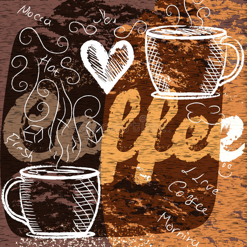 Grungy coffee background for design vector illustration