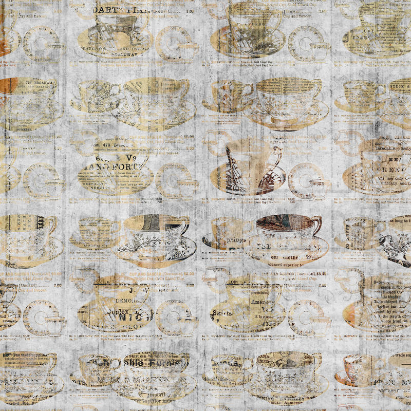 Grungy coffee cup wall art with vintage newspaper background vector illustration