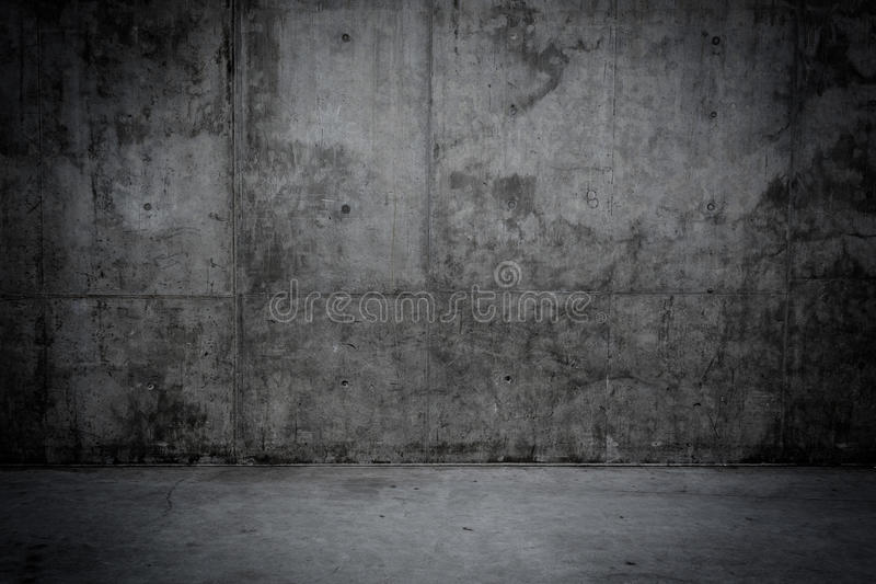 Grungy concrete wall and floor as background. Grungy concrete wall and stone floor room as background royalty free stock photography