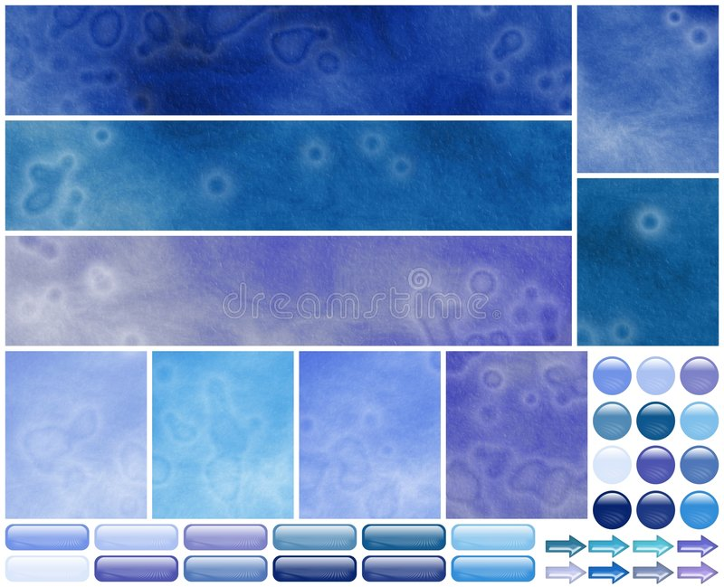 Grungy cool azure violet web template elements. Grungy azure and blue graphic elements for a web template : buttons, backgrounds, rollover, arrows, banners or royalty free illustration