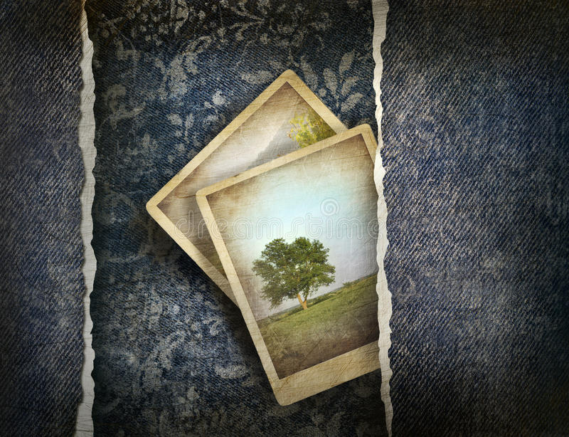 Download Grungy Denim With Photos On Faded Background Stock Illustration - Image: 16391305