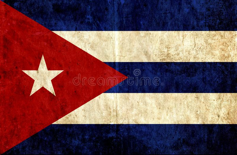 Grungy document vlag van Cuba stock illustratie