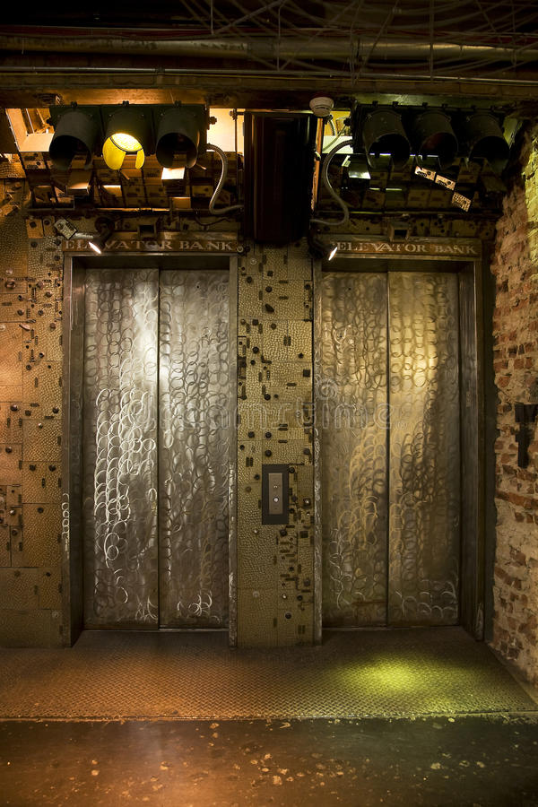 Grungy elevator doors royalty free stock images