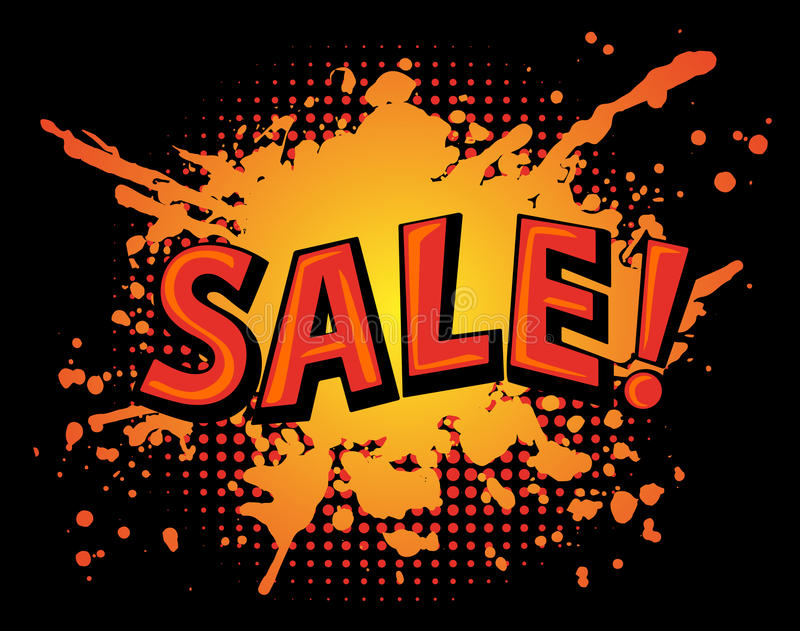 Grungy Farbe plätschern Fleck-Verkaufsfahne auf schwarzem Hintergrund stock abbildung