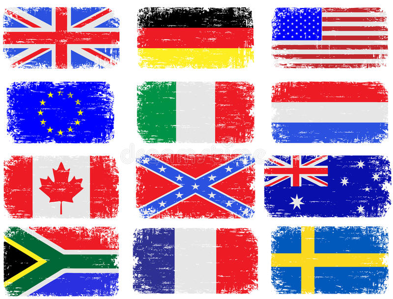 Download Grungy Flags stock vector. Image of british, american - 25170004