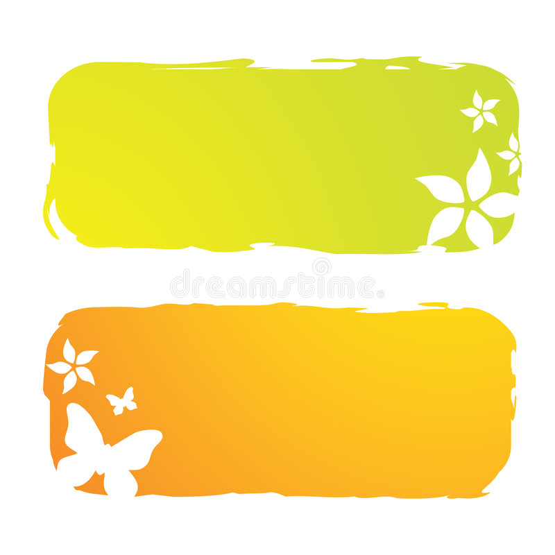 Grungy floral banners stock illustration