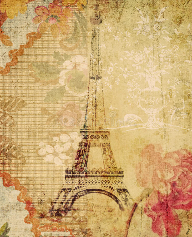 Free Grungy Floral Eiffel Tower Paris Background Royalty Free Stock Images - 16272519