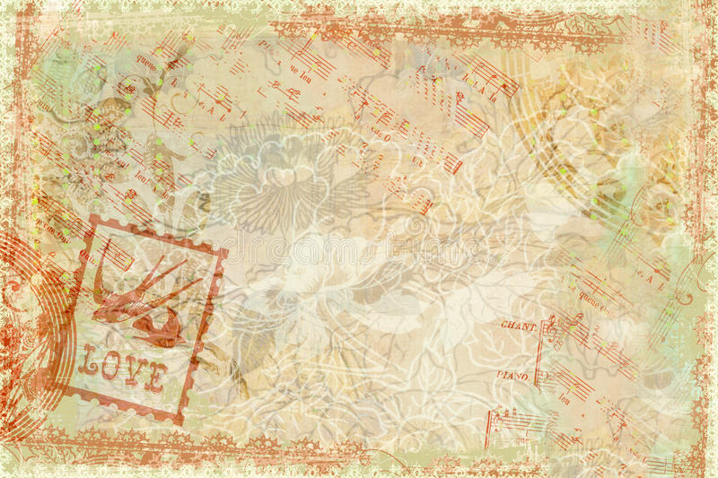 Grungy flourished background. A grungy antique floral background with musical notation stock illustration