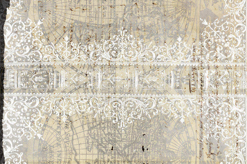 Grungy flourished background. A grungy antique flourished background with world map vector illustration