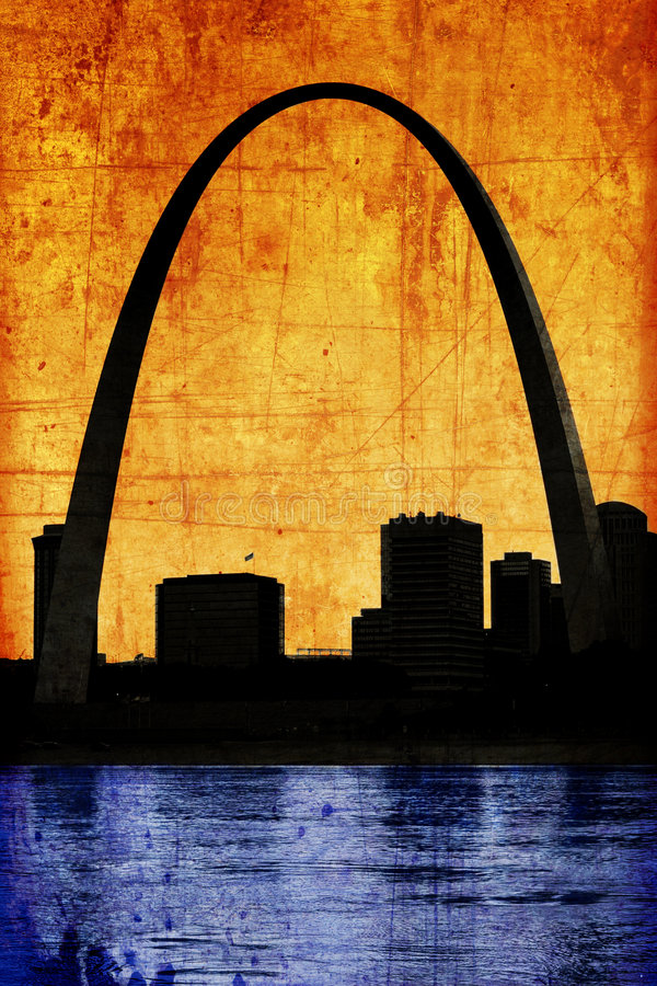 Grungy Gateway St. Louis Missouri Arch royalty free stock image
