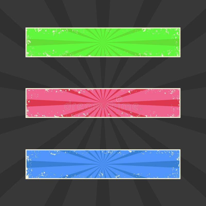 Grungy gekleurde banners, grunge kopballen met retro stralen, vectorreeks royalty-vrije illustratie